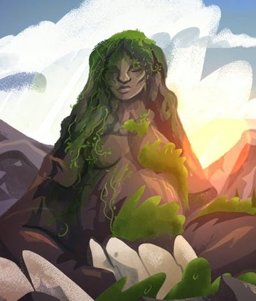 A mountain anthropomorphised as a woman - mother earth