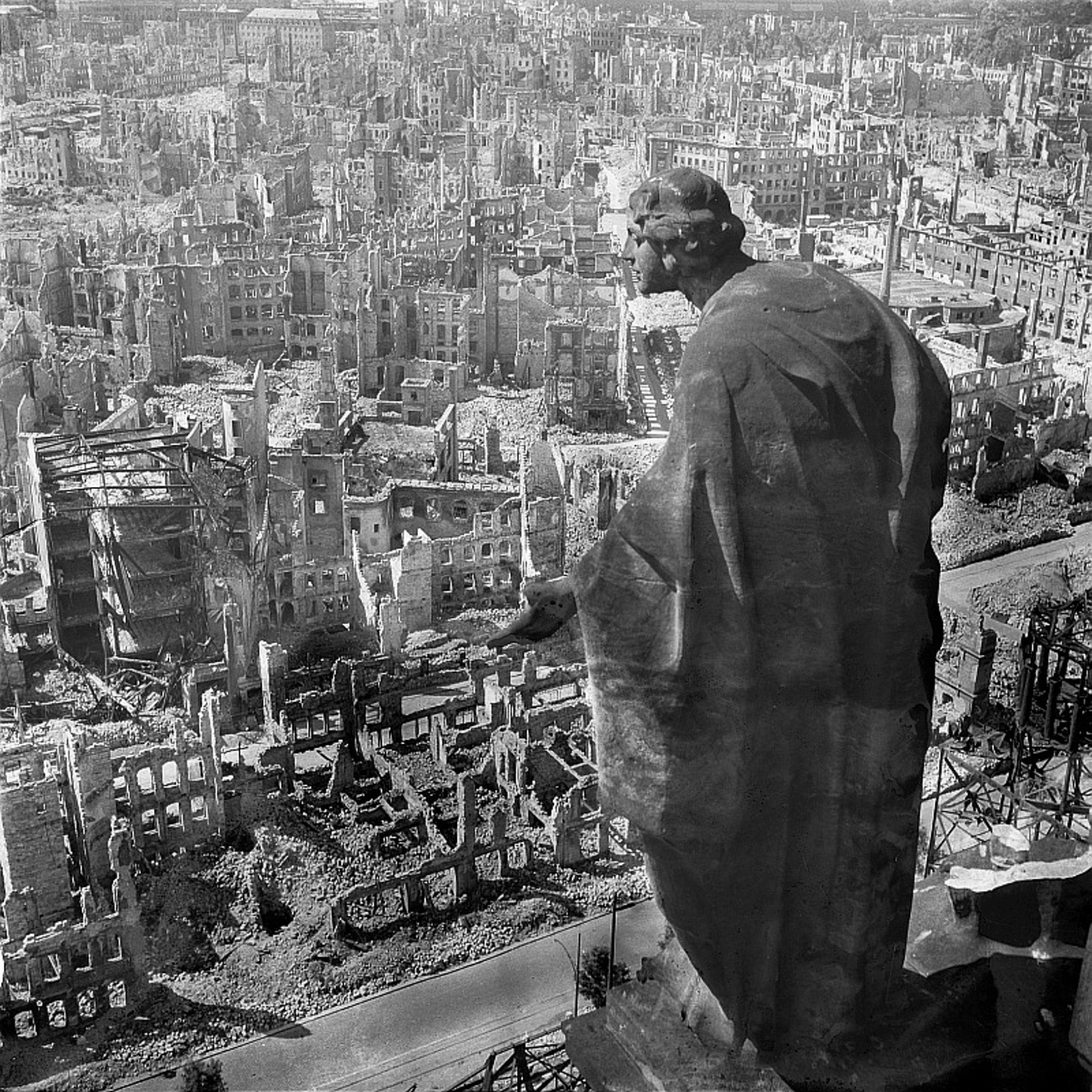 A black and white photo showing the view from the Rathausturm over Dresden, late 1945