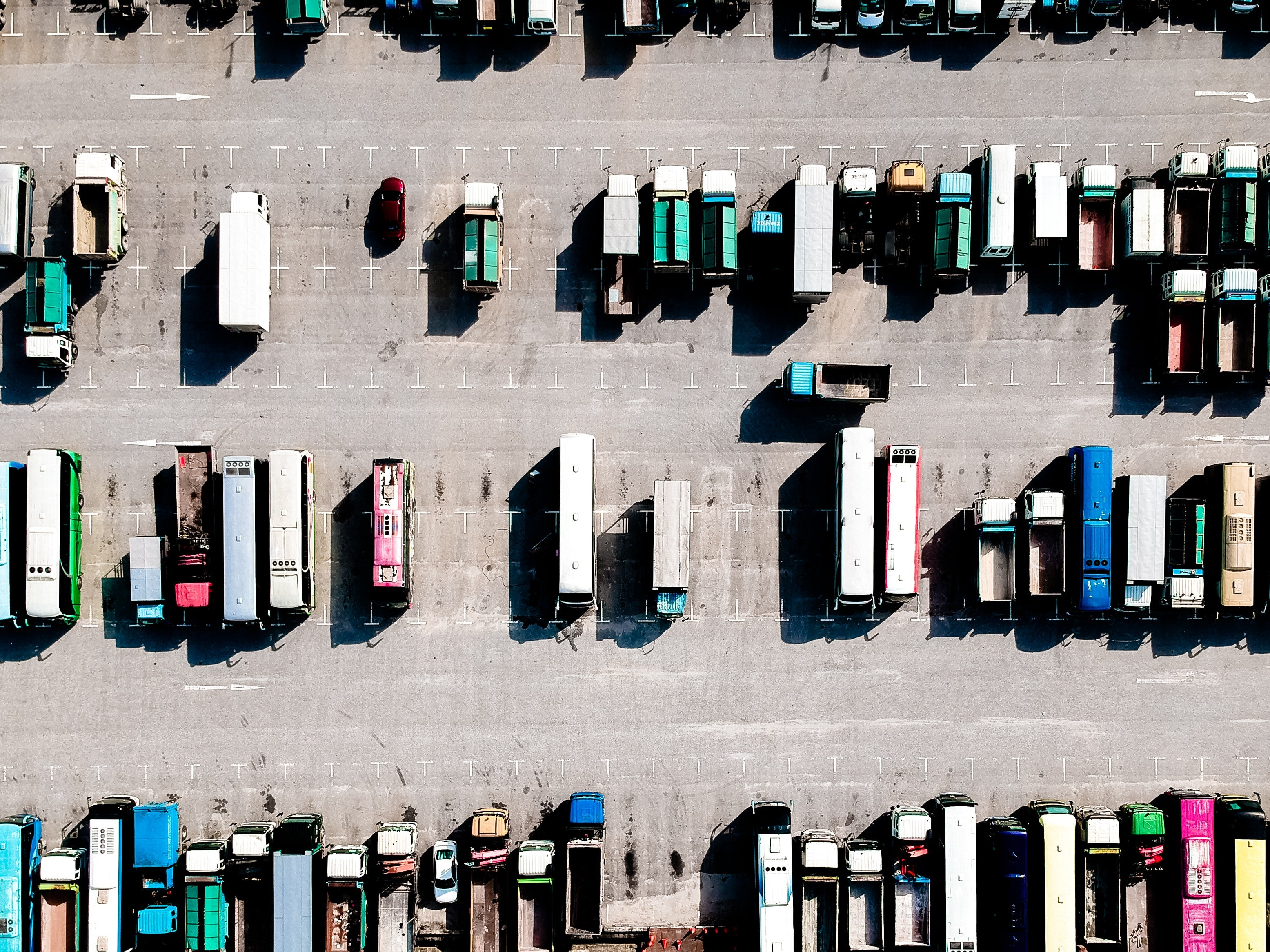 An aerial photograph looking down at a lorry park