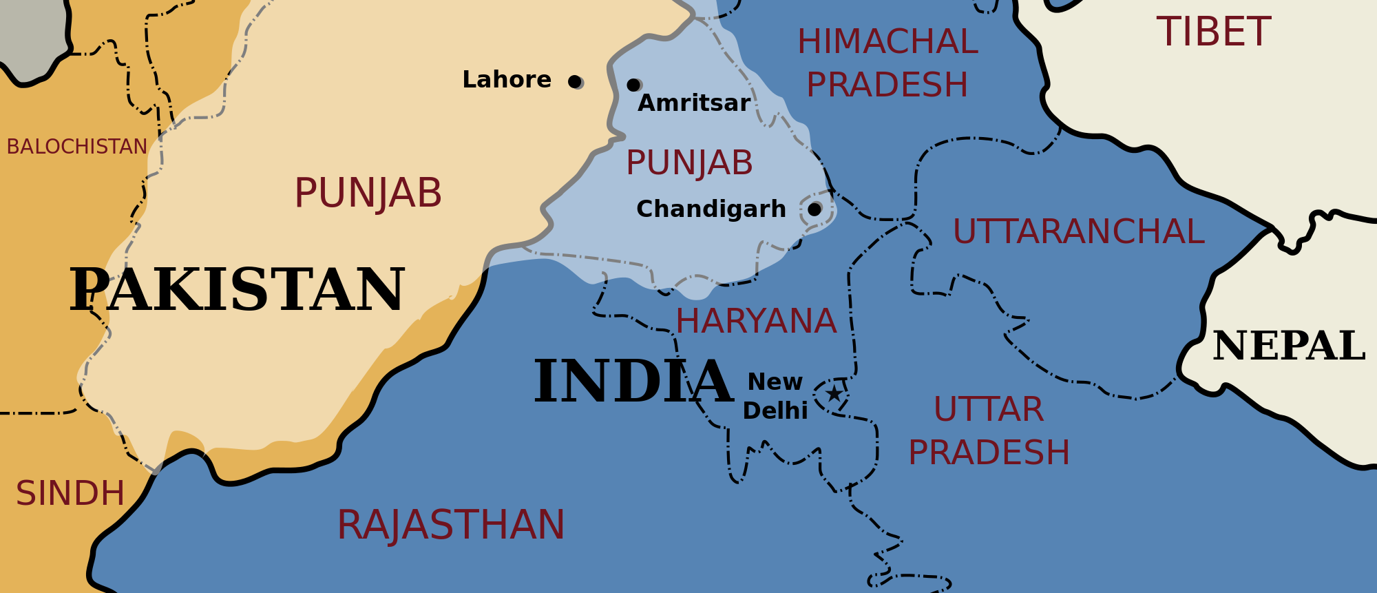 A map showing the borders between Pakistan and India. Pakistan is represented in yellow, and India in blue.
