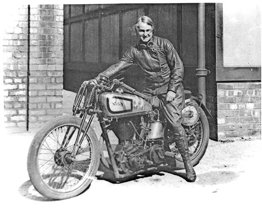 Beatrice Shilling on a Norton motorcycle