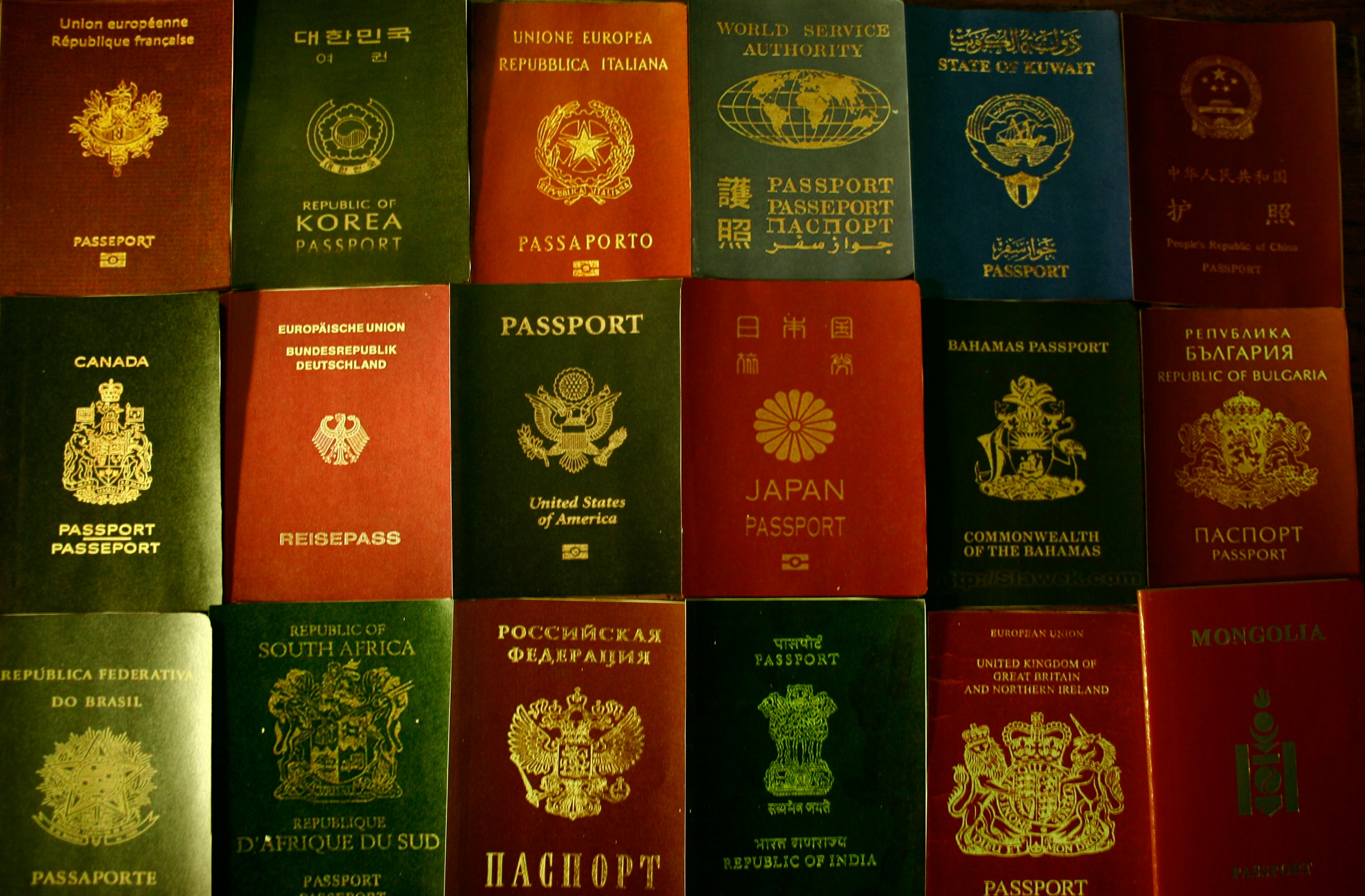 A collection passports from different countries across the world.