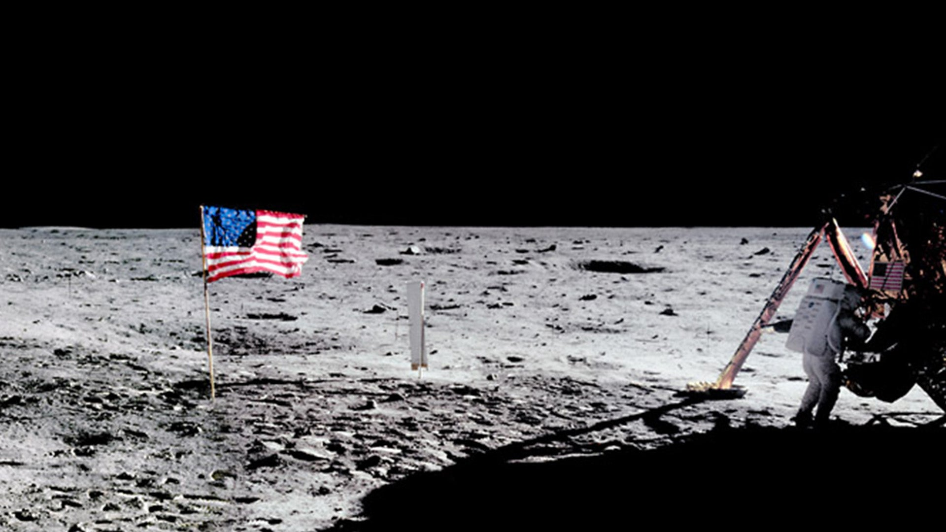 A photograph of the US flag on the surface of the moon