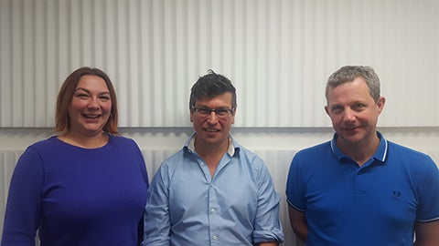 A photograph of Dr Victoria Honeyman, Tom Cargill and Dr William Brown