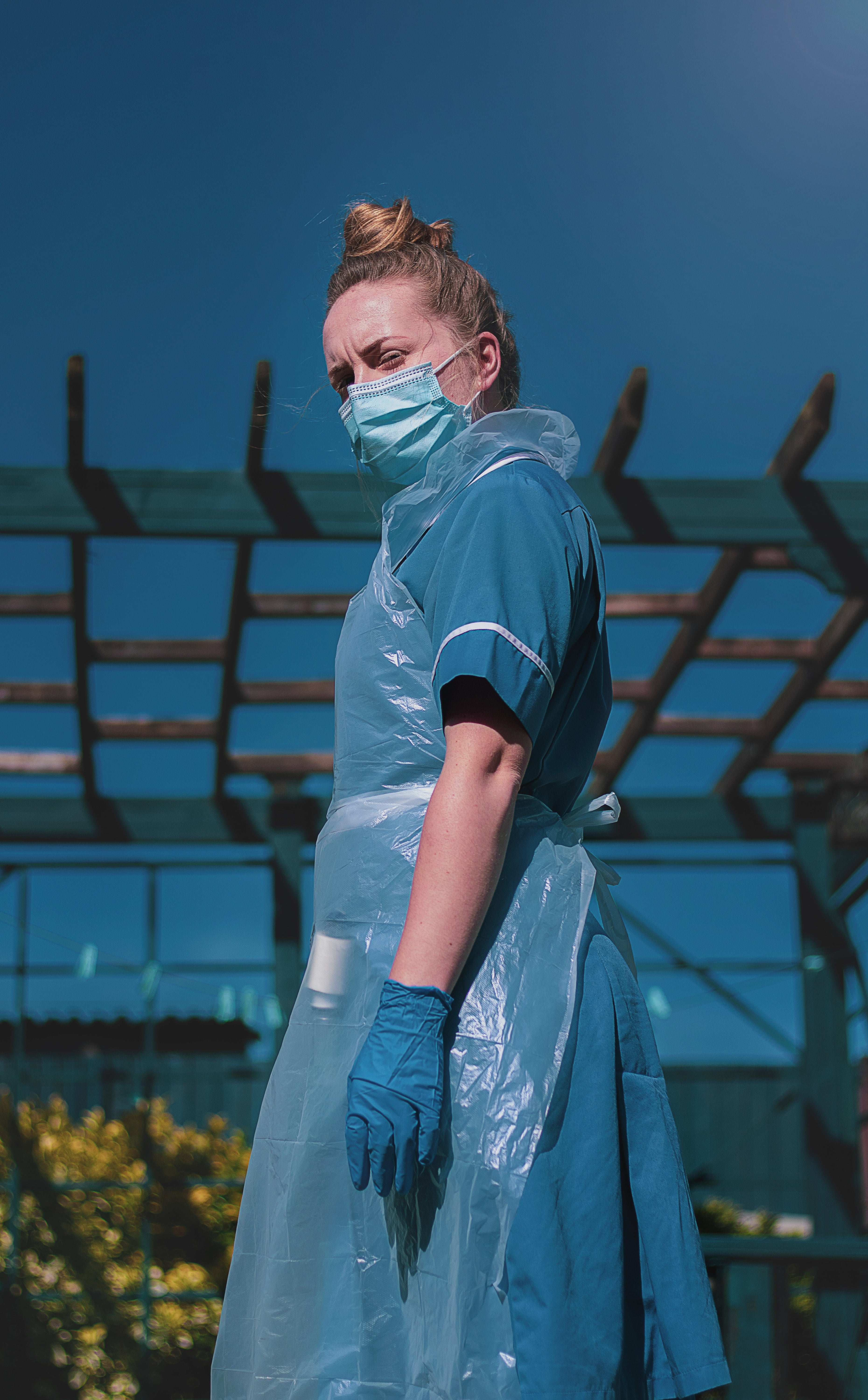 An NHS nurse in COVID-19 PPE