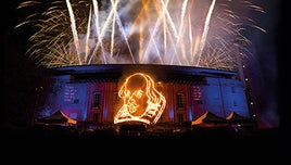 An outline image of Shakespeare's likeness is lit up, and fireworks go off around it.