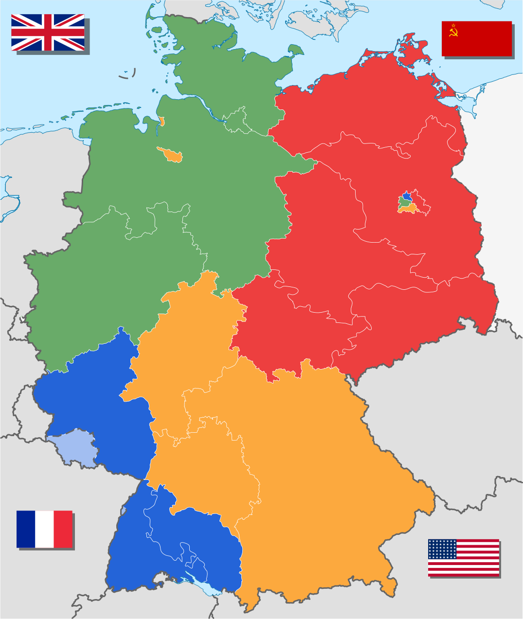 A map showing the areas of occupation in Germany, 1945