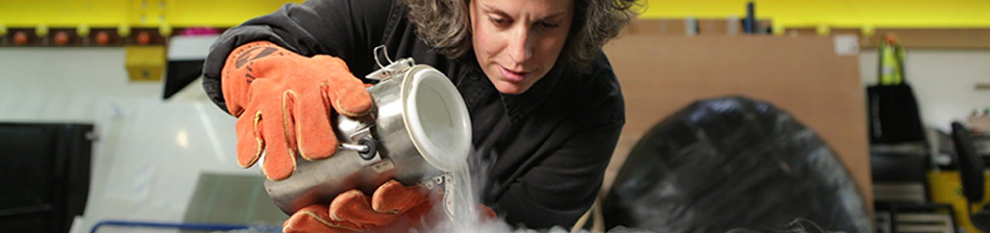 Zoe Laughlin pours liquid nitrogen the Secret Story of Stuff BBC