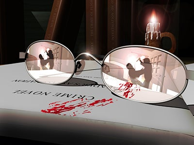 A pair of glasses with a streak of blood splattered on them. In their lenses, the reflection of two people fighting can be seen, and one of them is holding a knife in a stabbing motion.