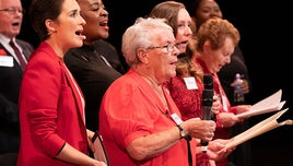 Actress Vicky Mclure sings with her dementia choir