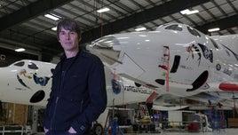 Brian Cox in the Virgin Galactic hanger