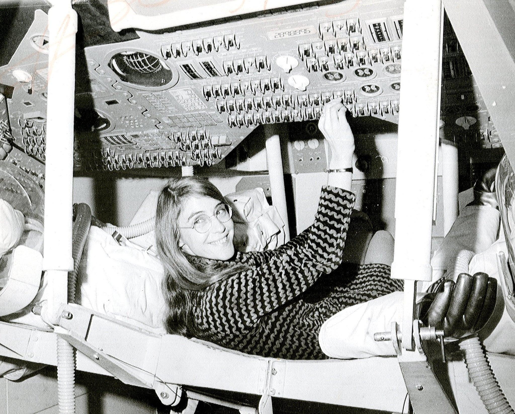 Margaret Hamilton in the Apollo Command Module (NASA)