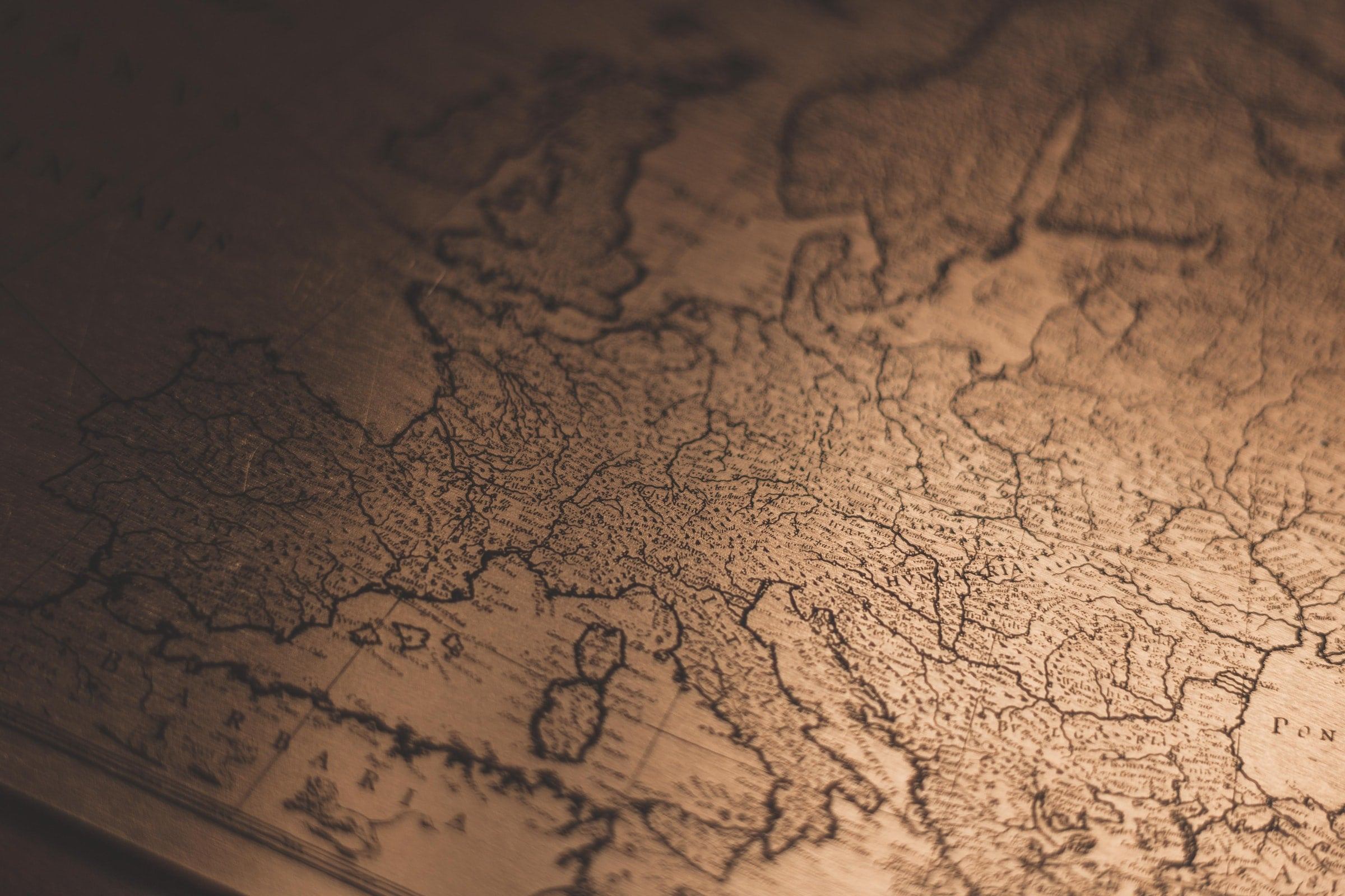 A picture of a map of Europe