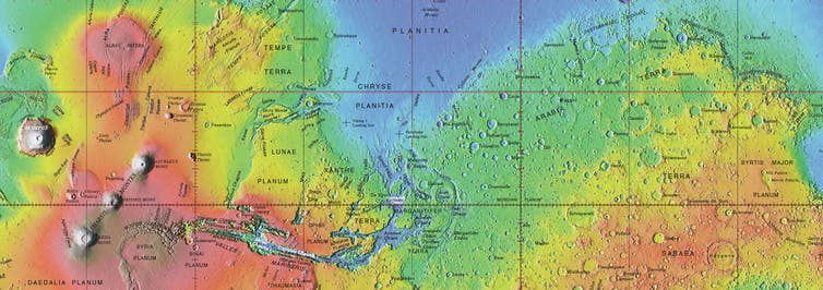 Approved names on global topographic map of Mars.USGS
