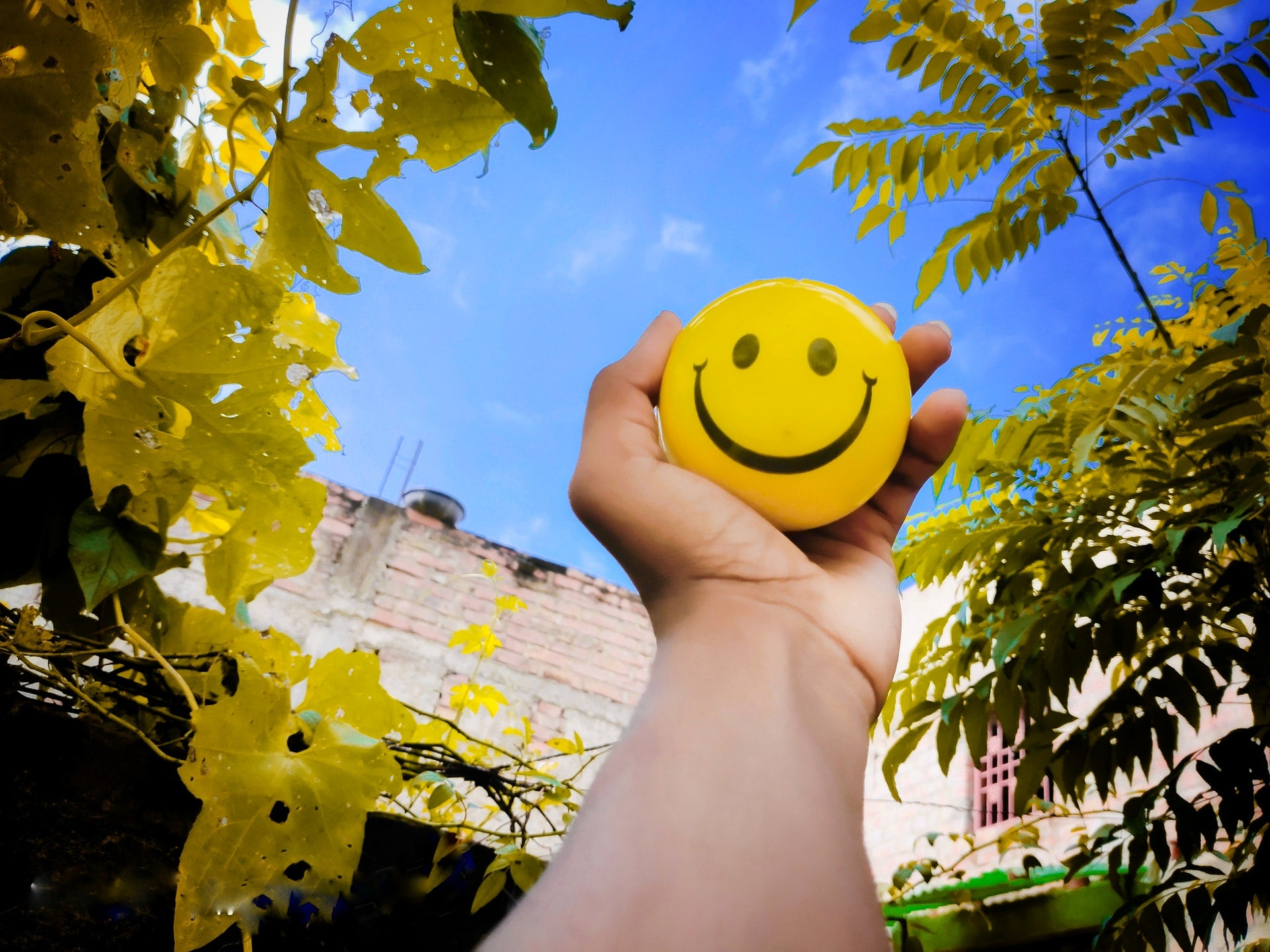 An outstretched hand holds a yellow ball with a smiley face on it