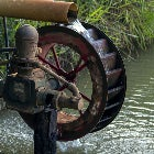 A water pumping water over a wheel
