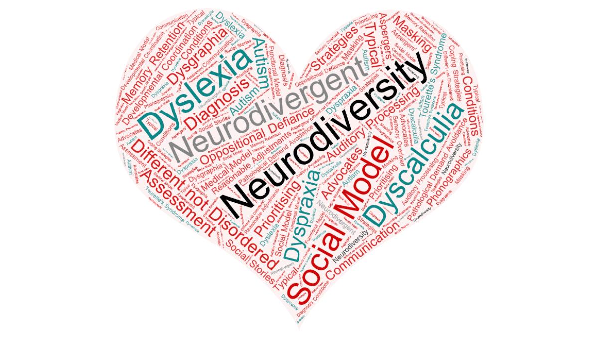 Neurodiversity word cloud in shape of a heart
