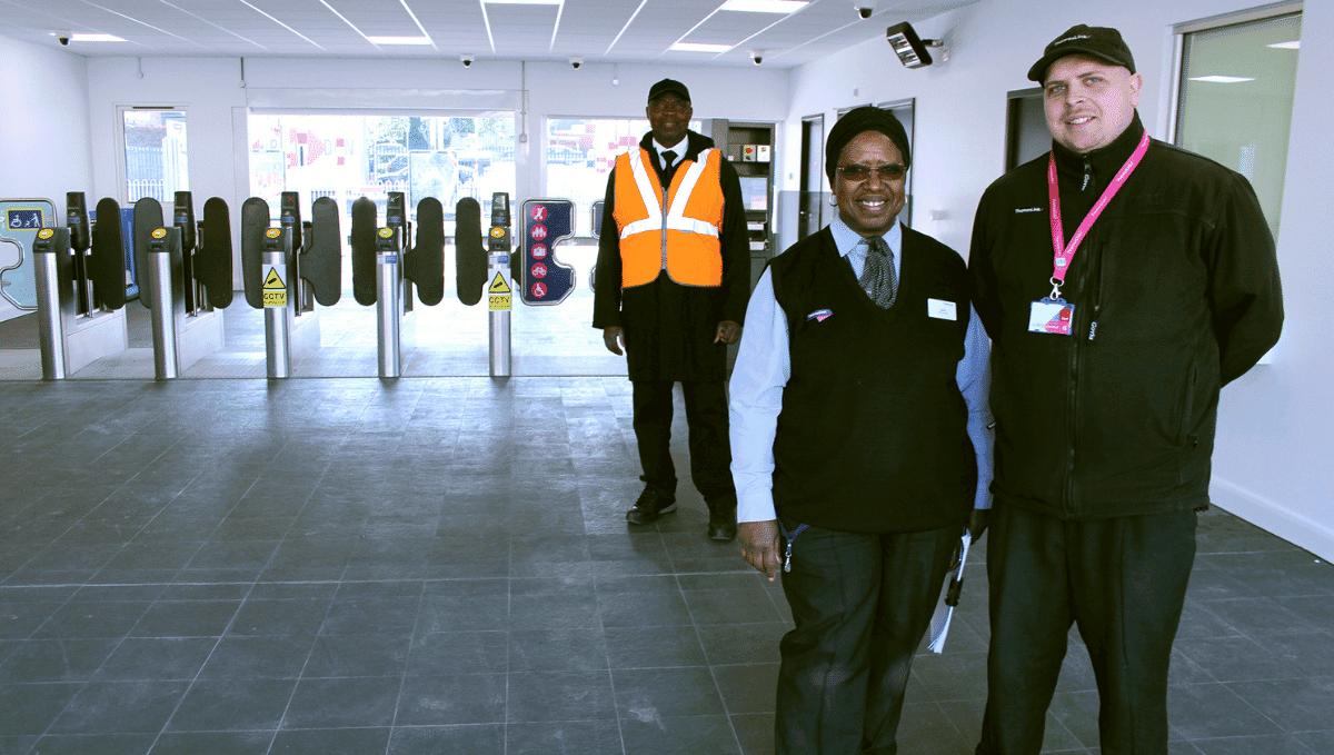 Station staff at gateline Elstree and Borehamwood station.
