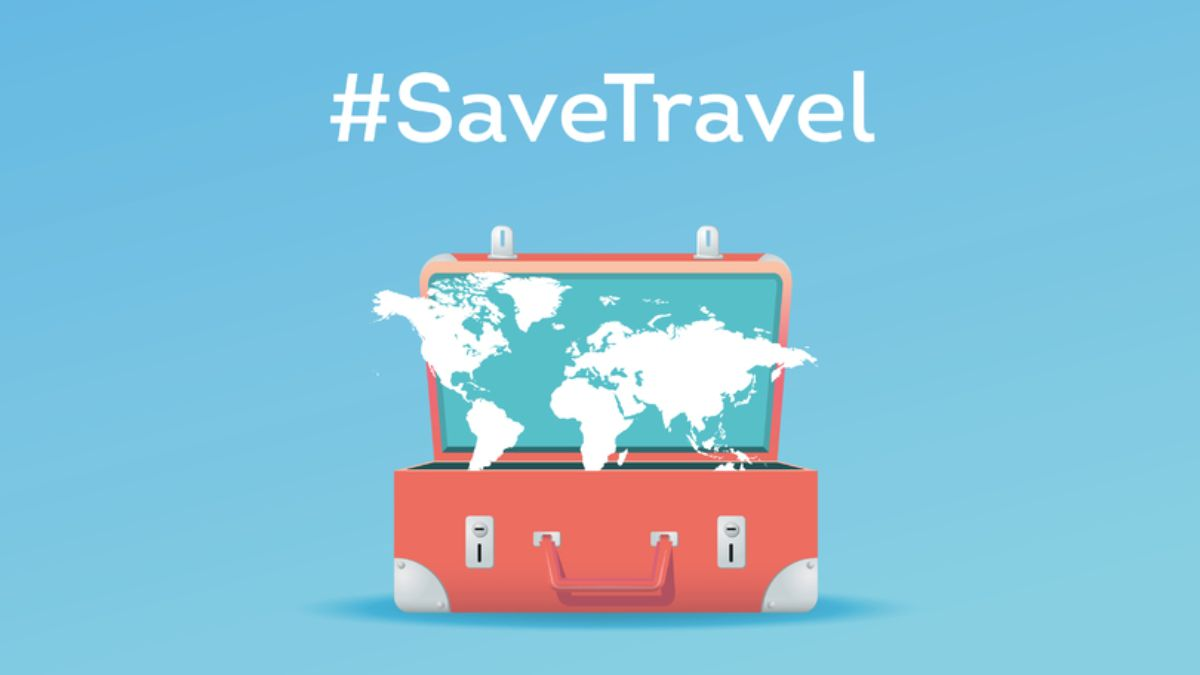 Save Travel campaign image with map and suitcase