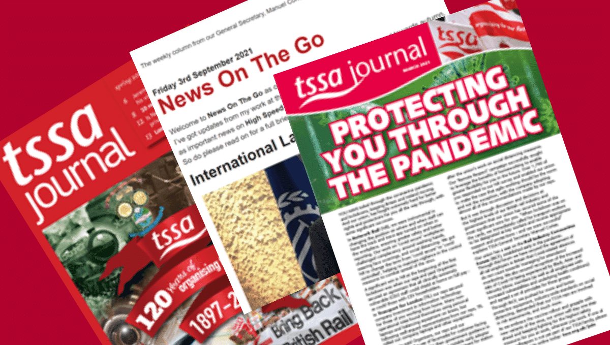 Mintage of two TSSA journal covers and part of the News on the Go digital newsletter