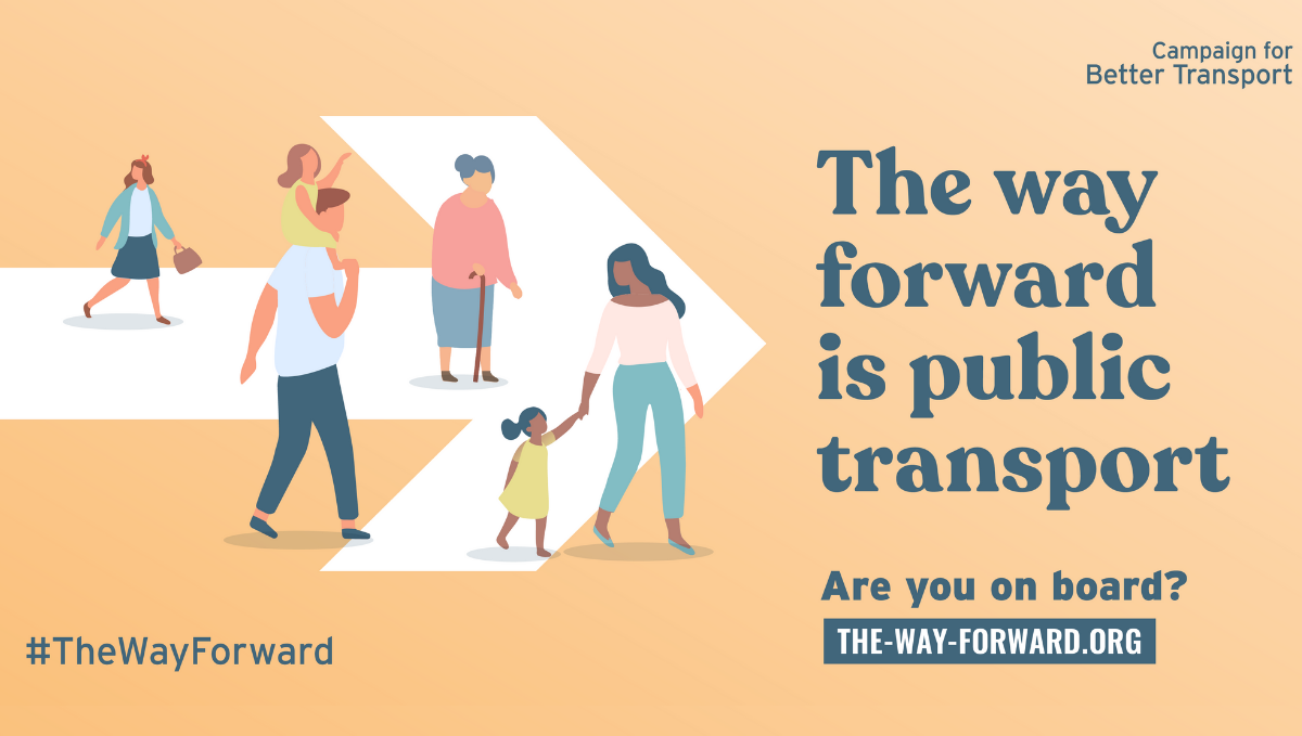 The Way Forwards campaign logo saying: The way forward is public transport. Shows an arrow and cartoon people.
