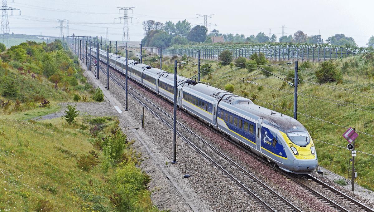 Eurostar train on tracks