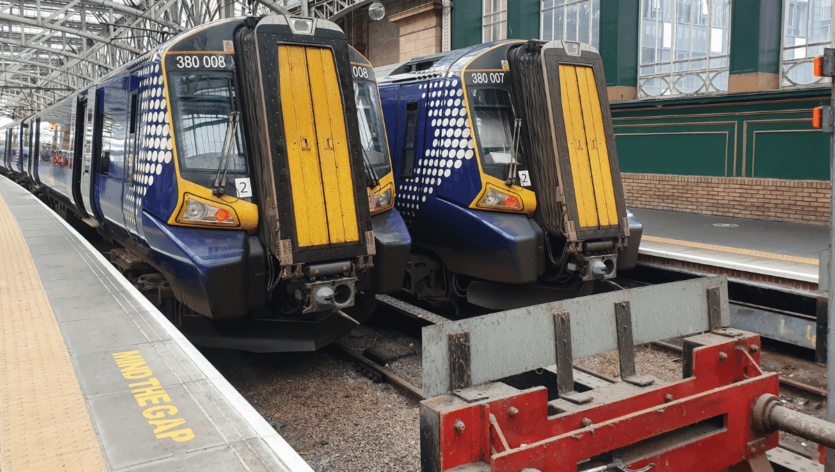 Two Scotrail trains and buffers