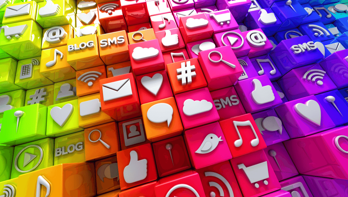 Social media image showing different platforms' logos and related icons