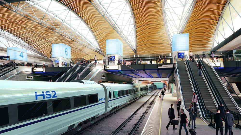 HS2 train at platform in Euston station, artists impression
