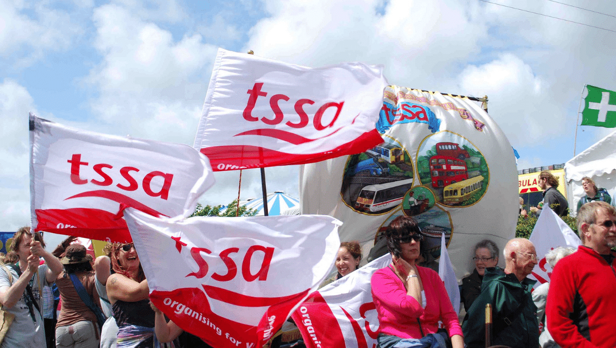 TSSA flags at Tolpuddle festival