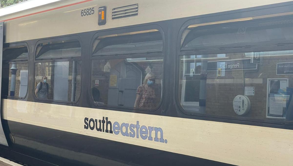 Southeastern train at platform, Penge East station