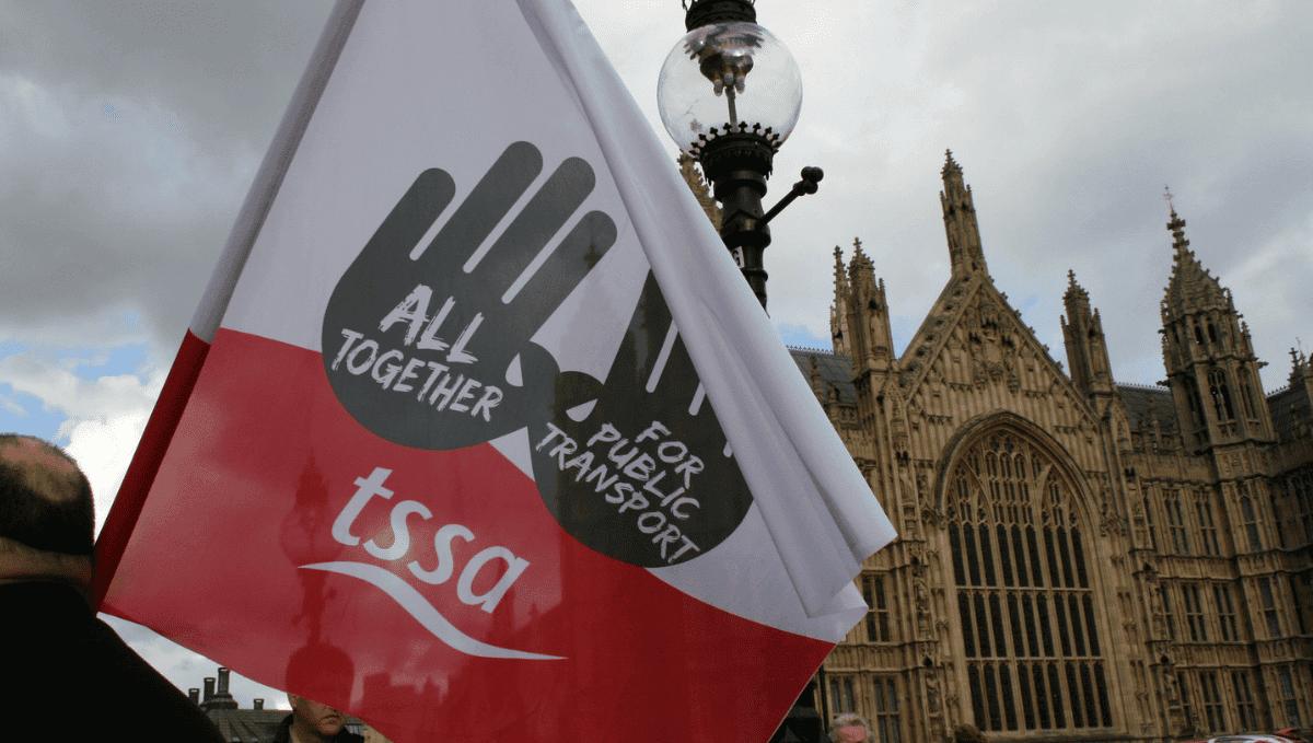 TSSA flag outside parliament