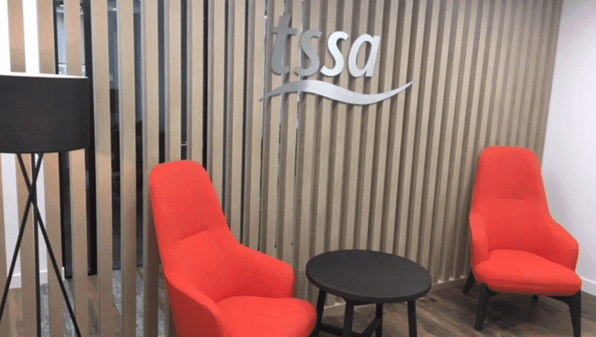 TSSA HQ reception photo showing logo and chairs