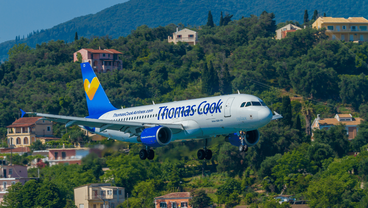 Thomas Cook aeroplane in flight