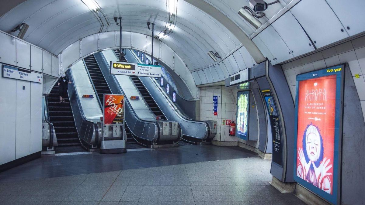 Waterloo underground tube station escalators and walkway