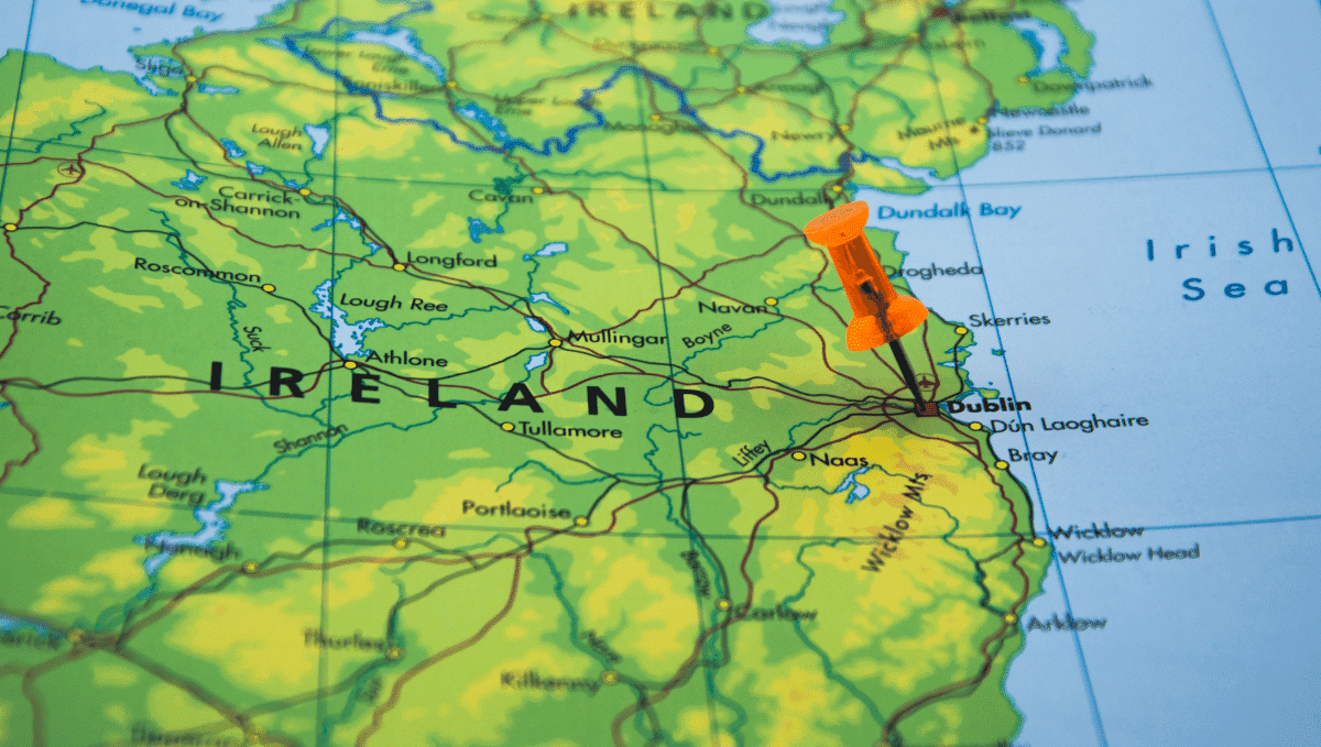 Map showing large section of Ireland with a pin in Dublin