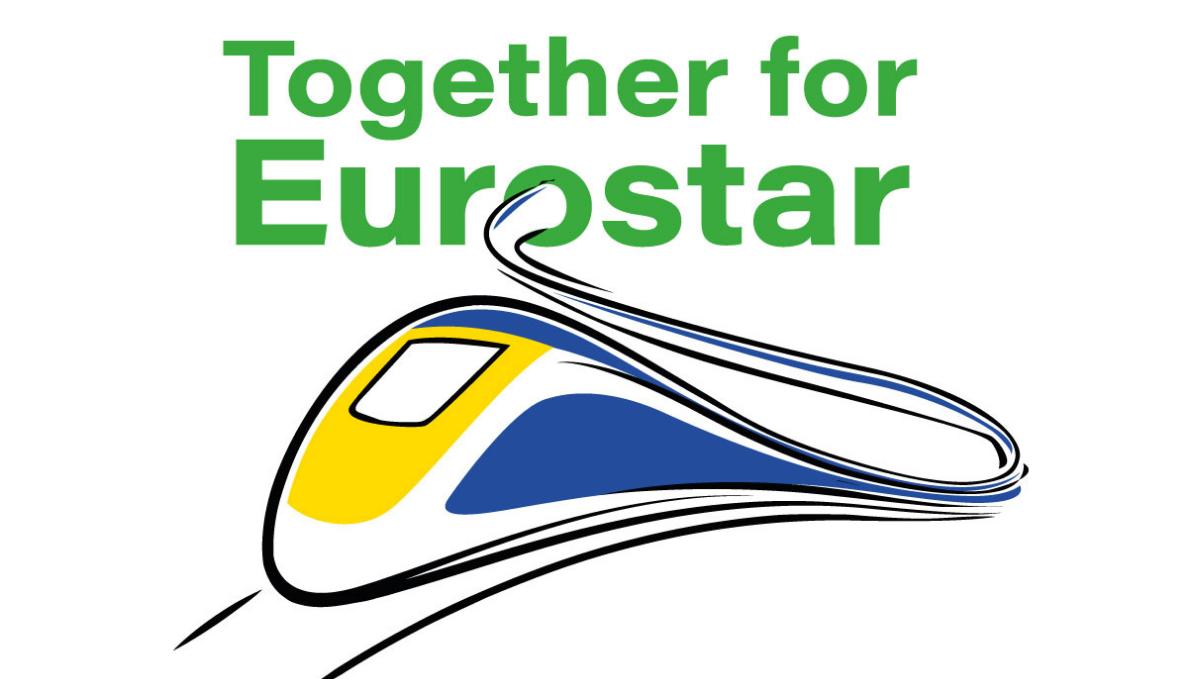 Together for Eurostar campaign logo showing Eurostar train sketch design
