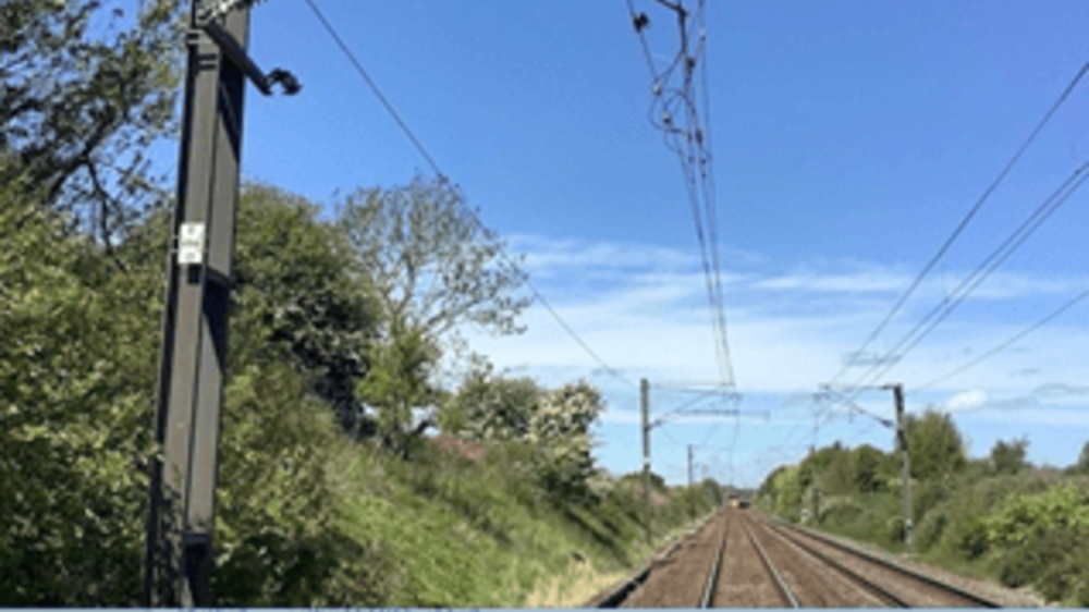 Railway track and overhead lines.