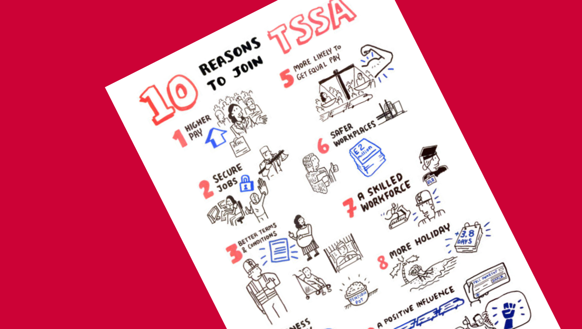 Ten reasons to join TSSA with cartoon images