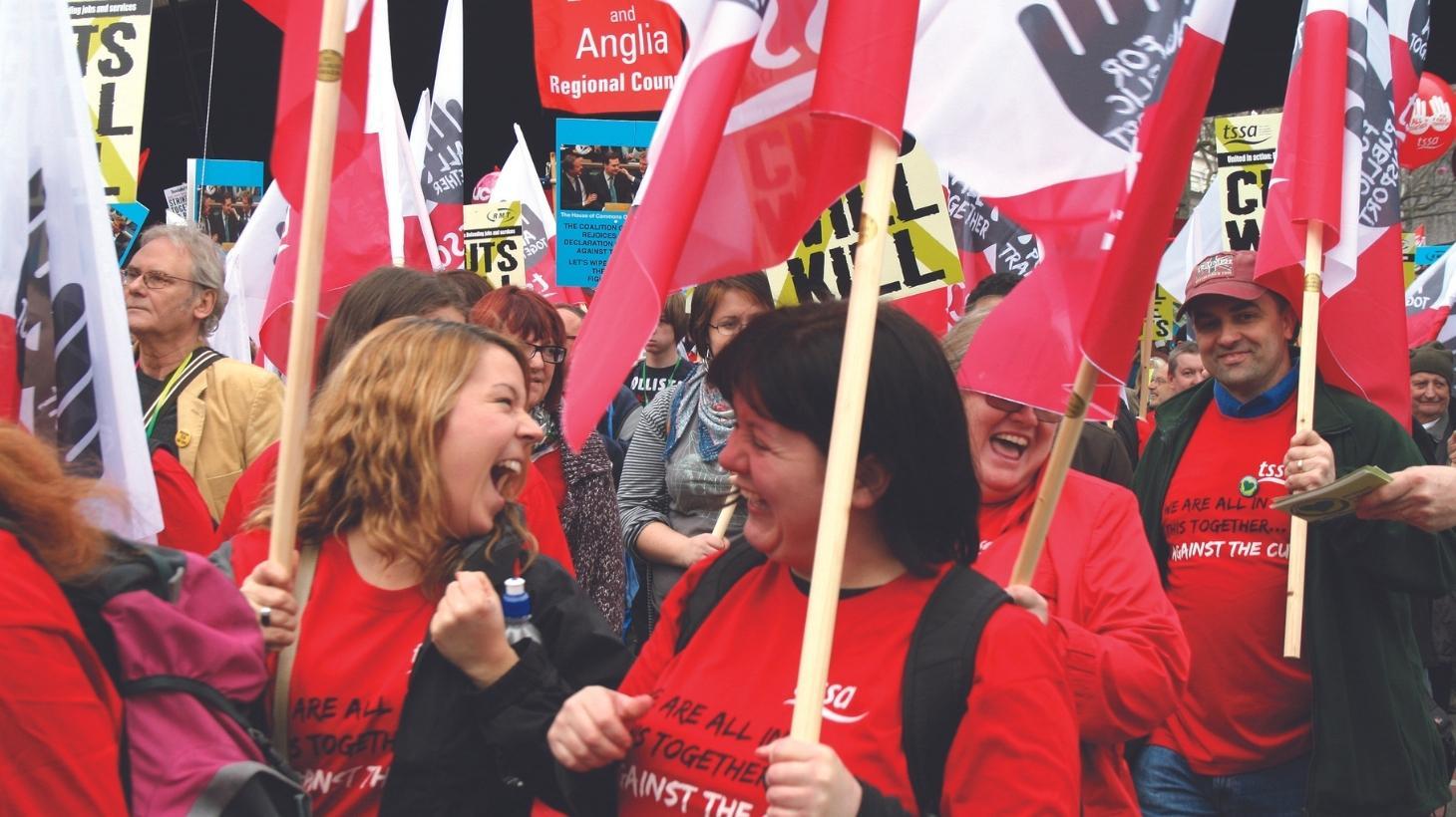 TSSA members attending a rally