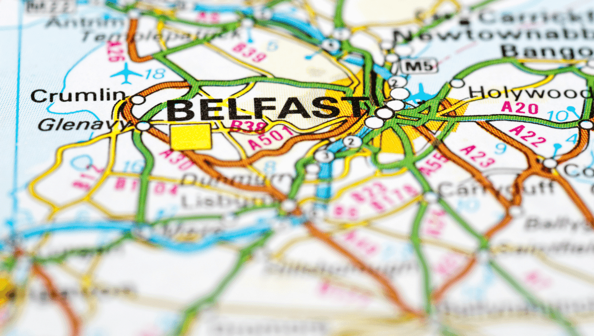 Detail of road map showing Belfast