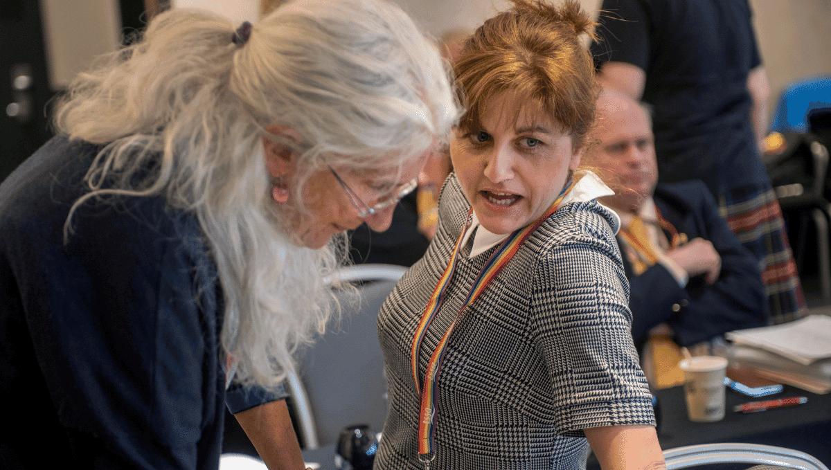 Jill Murdoch and Nicola Jukes at TSSA conference