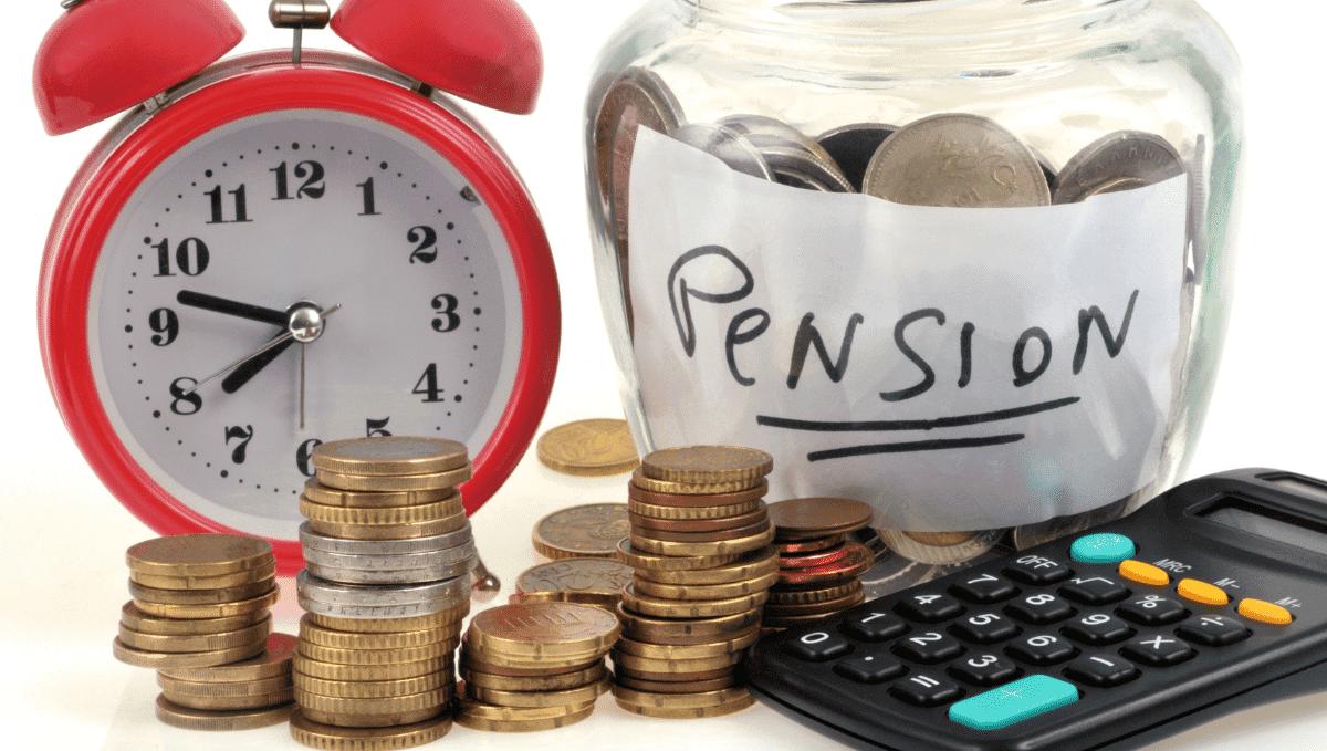 Pension image showing clock, calculator and savings jar. Canva