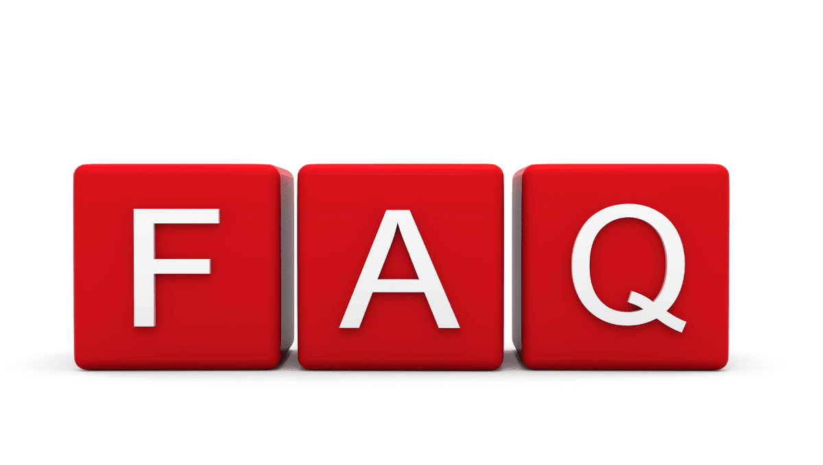 Image showing three letter blocks spelling out: FAQ