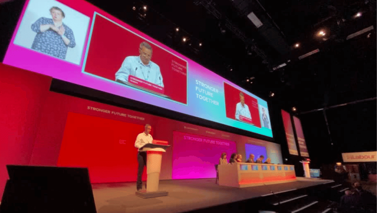 Paul Beadle speaking at Labour Party conference 2021