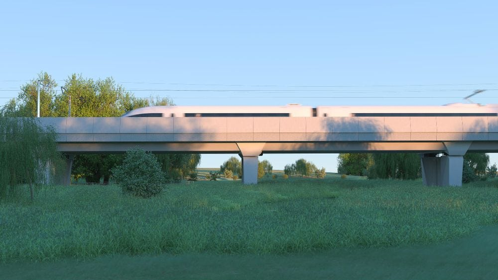Artists impression of HS2 high speed train on Edgcote viaduct
