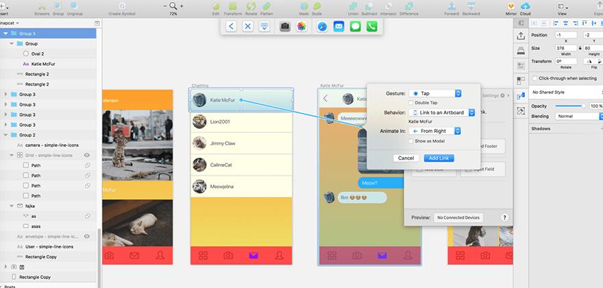Prototypování přímo v Sketchi je super pohodlné.