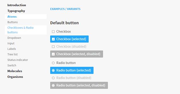 Ukázka z naší knihovny elementů – jak mají vypadat checkboxy a radio buttony