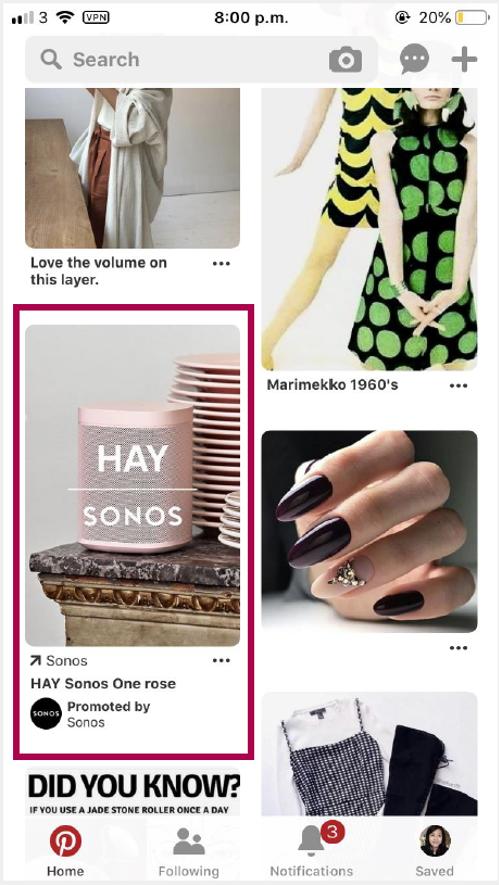 Esimerkki Pinterestin feedistä