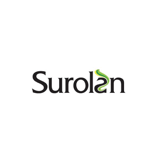 Surolan logo on white.